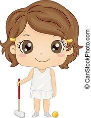 croquet, ragazza, illustrazione, capretto