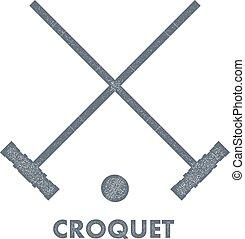 croquet, struttura, immagine, croquet., segno, bianco, oggetti, style., retro, vendemmia, fondo.