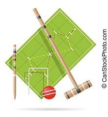 croquet, vettore, campo di gioco, illustrazione