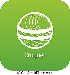 croquet, vettore, verde, icona