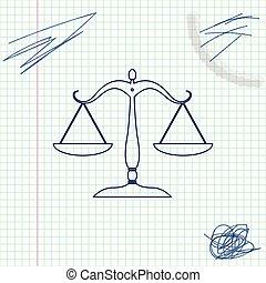 croquis, échelle, tribunal, balances, justice, signe., isolé, illustration, symbole., arrière-plan., vecteur, ligne, équilibre, blanc, droit & loi, icône