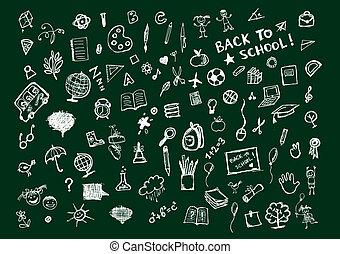 croquis, école, concept, tableau noir, conception, ton