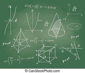 croquis, école, -, formes, planche, mathématiques, géométrique, expressions
