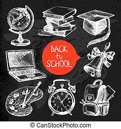 croquis, école, set., objet, main postérieure, vecteur, dessiné, education