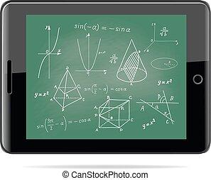 croquis, école, tablette, concept., -, formes, panneau ordinateur, géométrique, mathématiques, expressions, e-apprendre