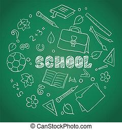 croquis, éléments, école