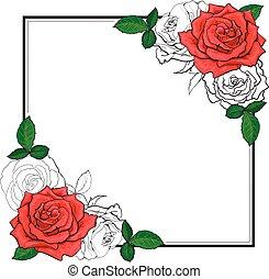 croquis, éléments, bouquet, coins, style, space., roses, forme, carrée, copie