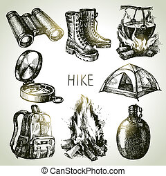 croquis, éléments, camping, randonnée, set., main, ...