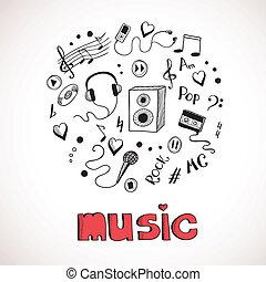 croquis, éléments, musique