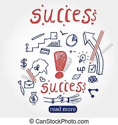 croquis, éléments, reussite, business, arrière-plan., réussi, set., illustration, main, isolated., stylo, vecteur, concept., infographics, dessiné, draw., doodles., doodles