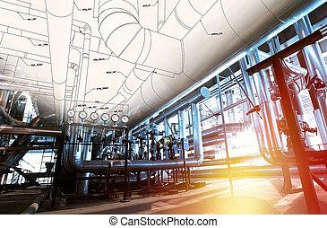 croquis, équipement industriel, photos, tuyauterie, conception, mélangé
