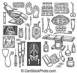 croquis, équipement médical, vecteur, thérapie, chirurgie