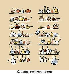 croquis, étagères, dessin, ustensiles, conception, caractères, ton, cuisine