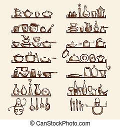 croquis, étagères, ton, ustensiles, conception, dessin,...