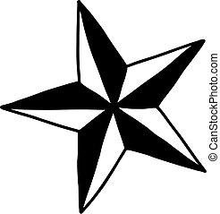 croquis, étoile, -, isolé, illustration, main, lignes, vecteur, arrière-plan noir, dessiné, blanc