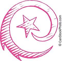croquis, étoile, vectorized, illustration, encre, magenta, tir