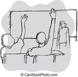 croquis, étudiants, lignes, deux, illustration, isolé, leur, vecteur, arrière-plan noir, mains, réponse, dessiné, blanc, main, classe, élévation
