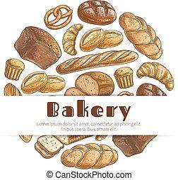 croquis, affiche, boulangerie, vecteur, rond, pain