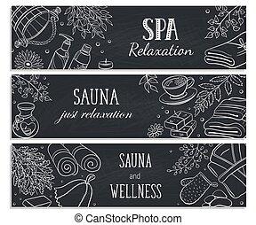 croquis, affiche, vecteur, illustration, sauna