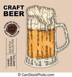 croquis, alcool, beer., boisson, illustration, main, verre, vecteur, dessiné