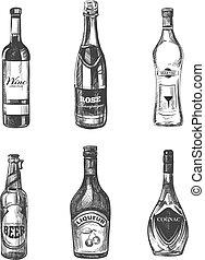 croquis, alcoolique, style, main, dessiné, boissons