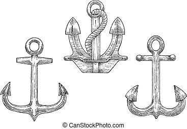 croquis, ancres, icônes, corde, marine, bateau