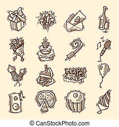 croquis, anniversaire, ensemble, icône