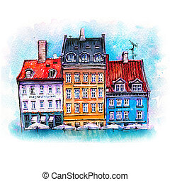 croquis, aquarelle, copenhague, nyhavn, denmark.