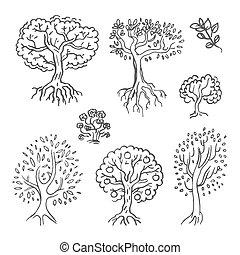 croquis, arbre, illustration, main, vecteur, fond, dessiné, blanc