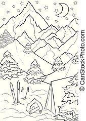 croquis, arbres, neige, année, paysage, coloration, hiver, griffonnage, noir, dessiné, blanc, ski, noël, pins, book., theme., adulte, nouveau, tent., main, graphique, montagnes
