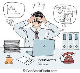 croquis, art, horaire, idée, cheveux, inbox, end., quel, do., courriers, non, tient, regarder, lot, crisis., dessiné, monitor., tête, sien, main, ligne, coloré, travail, mauvais, vecteur, stand, homme affaires
