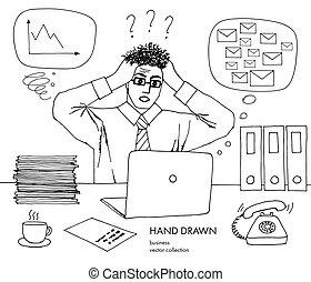 croquis, art, horaire, idée, cheveux, inbox, end., quel, do., courriers, non, tient, regarder, noir, lot, crisis., dessiné, blanc, monitor., tête, sien, main, ligne, travail, mauvais, vecteur, stand, homme affaires