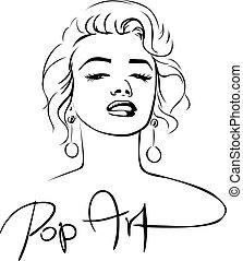 croquis, art, -, pop, vecteur, conception, illustration, ...