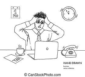 croquis, art, téléphone, cheveux, rings., end., travail, work., tient, jeune regarder, deadline., noir, lot, dessiné, blanc, monitor., tête, sien, illustration, main, ligne, tension, vecteur, stand, homme affaires