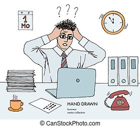 croquis, art, téléphone, cheveux, rings., end., travail, work., tient, jeune regarder, deadline., lot, dessiné, monitor., tête, sien, illustration, main, ligne, tension, coloré, vecteur, stand, homme affaires