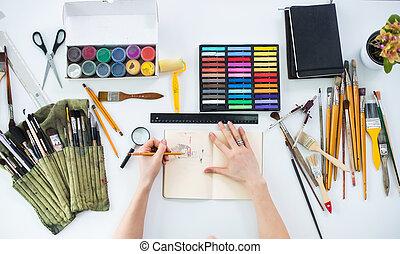 croquis, art, work-table:, photo, femme, outils, carnet ...