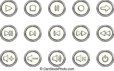 croquis, audio, ensemble, style, icônes