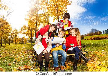 croquis, automne, discuter, parc