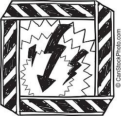 croquis, avertissement, électrique, danger