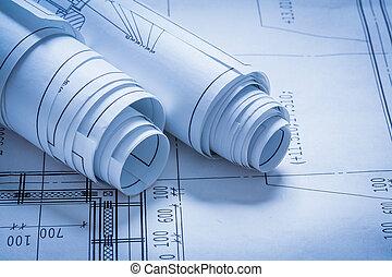 croquis, bâtiment, concept, construction, tas, architecture