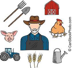 croquis, bétail, symbole, paysan, agriculture, ou