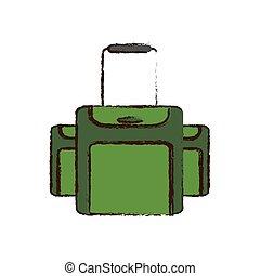 croquis, bagage, couleur, équipement voyage, vert