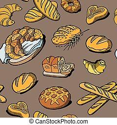 croquis, bakeshop, coloré, nourriture, maison, boulanger,...