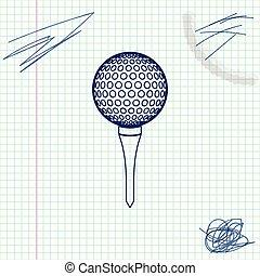 croquis, balle, tee golf, illustration, isolé, arrière-plan., vecteur, ligne, blanc, icône