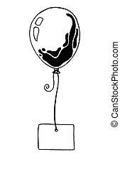 croquis, balloon, illustration, vecteur, endroit, texte, rope., congratulations., carte