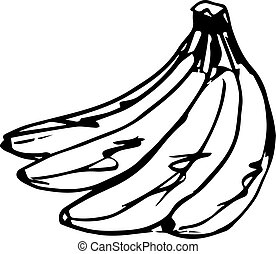 croquis, banane, délicieux