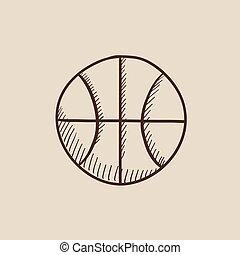 croquis, basket-ball, icon., balle
