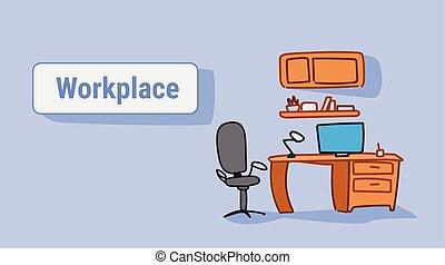 croquis, bureau, fauteuil, ordinateur portable, lieu travail, bureau, horizontal, griffonnage, vide, meubles