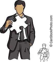 croquis, business, griffonnage, puzzle, lignes, isolé, illustration, main, wihte, arrière-plan., vecteur, noir, tenue, homme affaires, dessiné, blanc, concept.