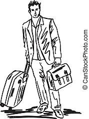 croquis, business, réussi, voyage, jeune, illustration, vecteur, bag., homme
